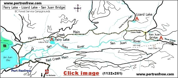 map of BC Forest Service Campgrounds near Port Renfrew BC